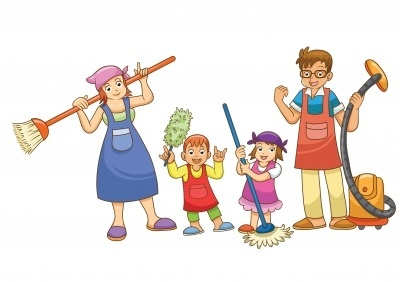 Cartoon, cartoon people, family, clothes, cleaning, mop, broom, children, parents