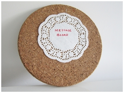Repurpose household items, recycling, cork trivet, message board