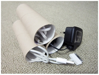 Repurpose household items, recycling, toilet rolls, cable management