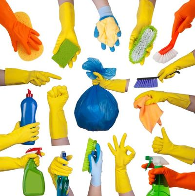 clean cleaning rubber gloves spray mop bucket rubbish bag detergent