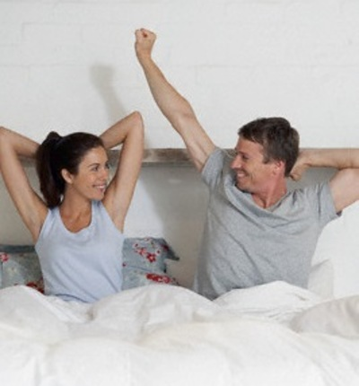 Couple Waking Up, Couple Sitting in Bed
