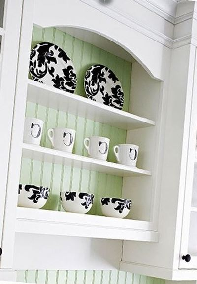 kitchen design decor remodel trend fashion cupboard colourful color accents cups plates cabinet high impact