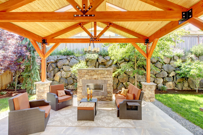 Outdoor Deck With Fire Place