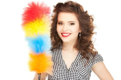 spring cleaning home house woman feather duster clean cleaner