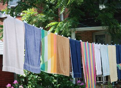 towels washing line drying sunshine clothes pegs fresh air