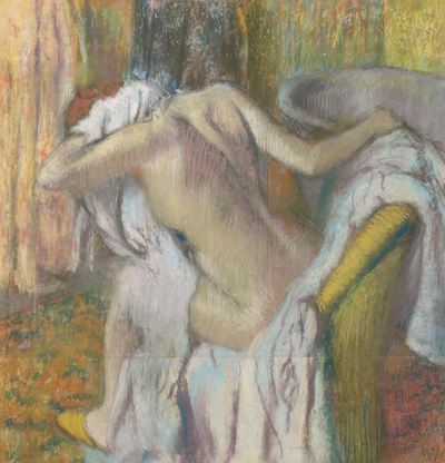 woman bath towel nude art painting edgar degas